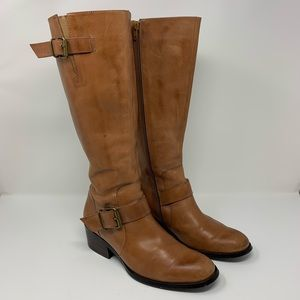 Nine West Leather Riding Boots Brown Size 8M